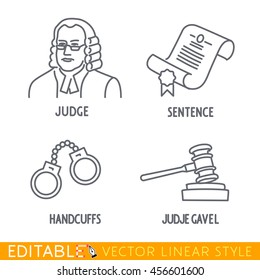 Law icon set include Jude Sentence Handclufs Jude gawel. Editable vector icon in linear style.