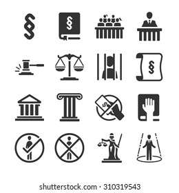 Law icon set. Included the icons as law book, lawyer, juror, court, oath, legal and more.