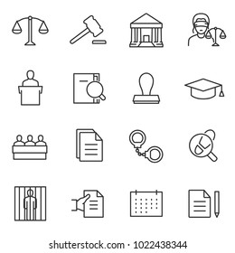 Law icon set, linear design. Line with editable stroke