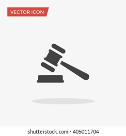 Law Icon in trendy flat style isolated on grey background. Judge Gavel symbol for your web site design, logo, app, UI. Vector illustration, EPS10.