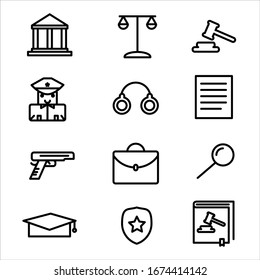 Law icon vector set outline style. Set includes icons as Police, Law Book , briefcase, Judge gavel, Handcuff, gun, Police badge, Law scales