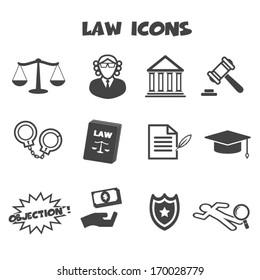 law icons, mono vector symbols