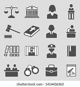 Law Icons. Sticker Design. Vector Illustration.