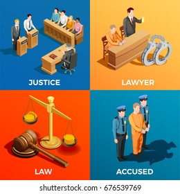 Law isometric design concept compositions of judge jury lawyer and accused human characters during legal trial vector illustration