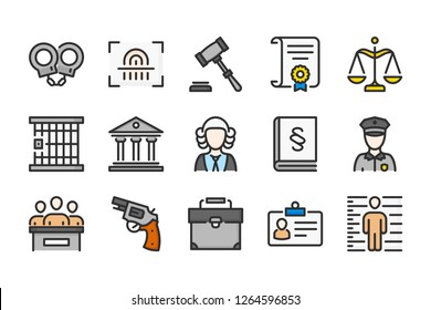 Law and judgement color line icons. Justice vector linear colorful icon set. Isolated icon collection on white background.