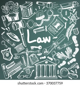 Law and judgment education chalk handwriting doodle icon of justice sign and symbol in blackboard background paper used for presentation title with header text, create by vector