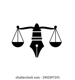Law with judicial balance symbol of justice scale in a pen nib. Logo vector isolated illustration design for law, justice services and firms.