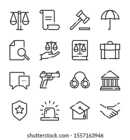 Law and justice bold line icon set. The set is about signature, conversation, security, approval, certificate, certification, mail, achievement, vector, editable stroke, line, outline.