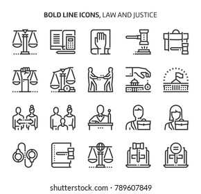 Law and justice, bold line icons. The illustrations are a vector, editable stroke, 48x48 pixel perfect files. Crafted with precision and eye for quality.