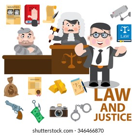 Law and justice, cartoon characters, judge, defendant, lawyer