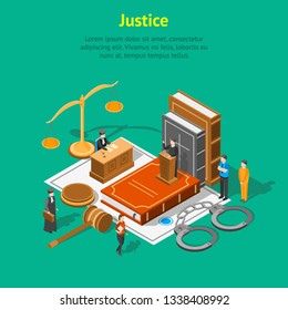 Law Justice Composition Concept Card 3d Isometric View Include of Court, Judge, Lawyer, Gavel, Legislation and Handcuff. Vector illustration