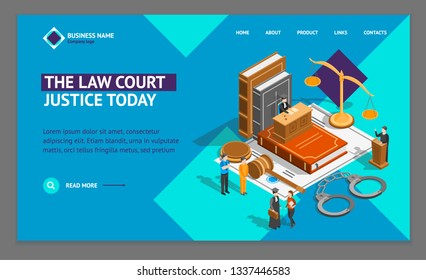 Law Justice Composition Concept Landing Web Page Template 3d Isometric View Include of Court, Judge, Lawyer, Gavel, Legislation and Handcuff. Vector illustration