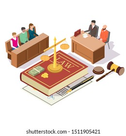 Law and Justice composition, vector illustration. Criminal trial in courtroom with isometric jury, defendant and attorney for defence characters, Law book, scales of justice, money, gavel.