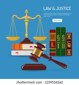 Law and Justice Concept with flat icons justice scales, judge gavel, law books. isolated vector illustration