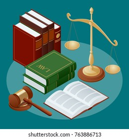 Law and justice concept. Public justice symbols balance gavel wristbands judge and jury characters. Vector illustration Flat icon vector illustration.