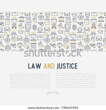 Law Justice Concept Thin Line Icons Stock Vector Royalty Free