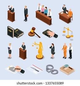 Law justice court characters accessories isometric icons set with convict judge attorney hand on bible vector illustration
