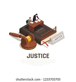 Law justice court proceedings isometric composition on civil code book with defense lawyer defendant mallet vector illustration