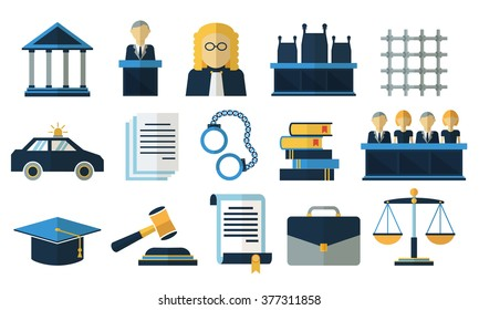 Law and justice flat icons for court legal tribunal. Vector illustration