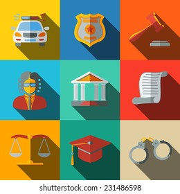 Law (justice) flat icons set on square plates with long shadows, with - scales, hammer, court house, judge, police badge, handcuffs, lawyer cap, police car, sentence document.