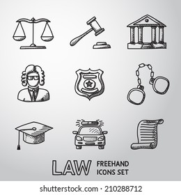 Law (justice) freehand icons set with - scales, hammer, court house, judge, police badge, handcuffs, lawyer cap, police car, sentence document.