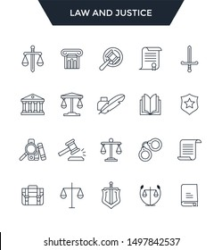 Law and justice icon set.Web and mobile app icons