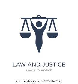 law and justice icon. Trendy flat vector law and justice icon on white background from law and justice collection, vector illustration can be use for web and mobile, eps10
