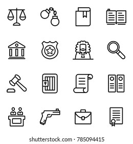 Law and justice icons collections. The legal system, judge, police and lawyer