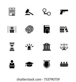 Law Justice icons - Expand to any size - Change to any colour. Flat Vector Icons - Black Illustration on White Background.
