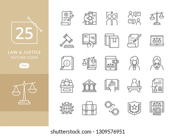 Law and Justice icons. Law and justice icon set suitable for info graphics, websites and print media. Modern thin line icons of law and lawyer service