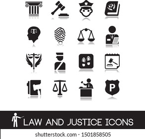 Law and justice icons set 4.