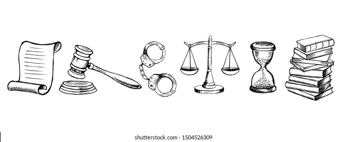 Law and Justice icons set. Hand drawn illustration
