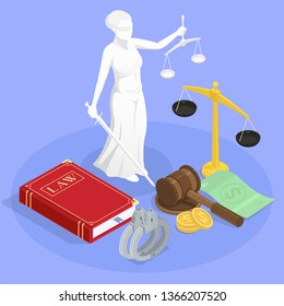 Law justice isometric composition with statue of themis book of law wristbands and other jurisdiction symbols vector illustration