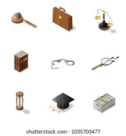 Law and justice isometric set. lawyer symbols:   gavel, handcuffs, scales of Justice, case, suitecase, education and expirience, sand watch,  books, investigation vector illustrations