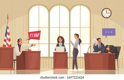 Law justice lawyer composition with indoor court house scenery and doodle human characters with thought bubbles vector illustration