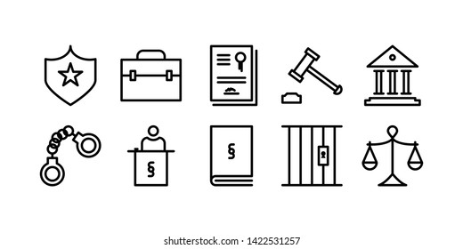 Law and Justice Line Icon Set