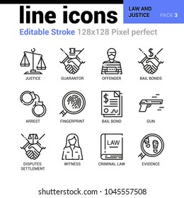 Law and Justice line icons - Editable Stroke, Pixel perfect thin line vector icons for web design and website application. Suitable for print, symbols, apps, infographics.