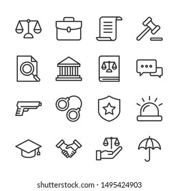 Law and justice line icons set vector illustration. Contains such icon as arrest, authority, courthouse, gavel, legal, weapon and more. Editable stroke
