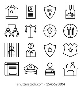 Law and justice line icons set. Contains such icon as arrest, authority, courthouse, gavel, legal, weapon and more for your website or app. Eps10 vector
