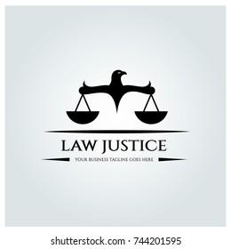 Law justice logo design template. vector illustration