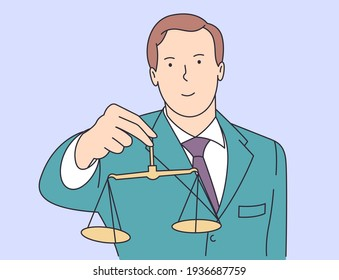 Law, justice, notary, work concept. Young happy smiling man guy clerk manager lawyer attorney judger demonstrating guilty weight.