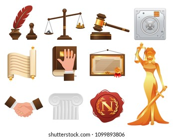 Law justice and order realistic icons set.