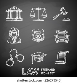 Law (justice) painted on black chalkboard icons set with - scales, hammer, court house, judge, police badge, handcuffs, lawyer cap, police car, sentence document.