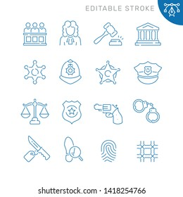 Law and justice related icons. Editable stroke. Thin vector icon set