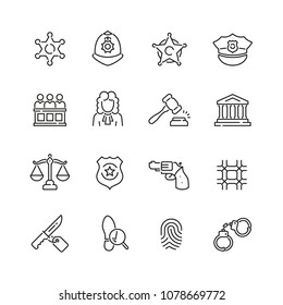 Law and justice related icons: thin vector icon set, black and white kit
