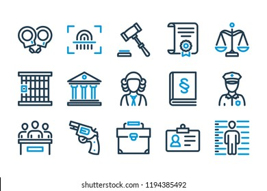Law and justice related line icon set.