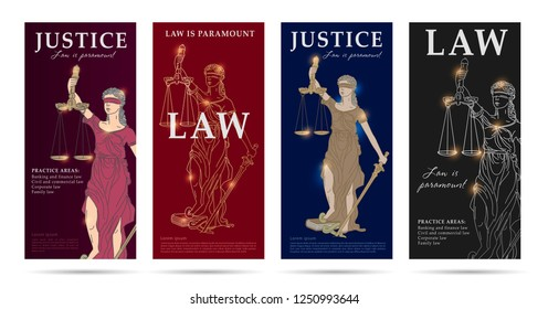 law and justice set of flyers with lady justice linear illustration, premium segment