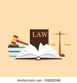Law and justice set icon, Scales of justice, gavel and books in flat style, Conceptual justice and law Vector illustration.