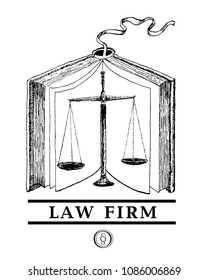 Law and justice set. Lawbook, scales.  Advocacy juridical icon. Engraving style vintage vector lineart illustration. Law firm logo template