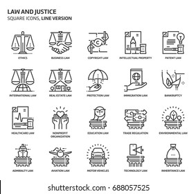 Law and justice, square icon set. The illustrations are a vector, editable stroke, thirty-two by thirty-two matrix grid, pixel perfect files. Crafted with precision and eye for quality.
